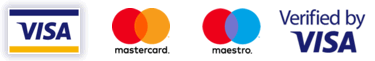 Visa, Mastercard, Maestro and Verified by Visa card payment logos
